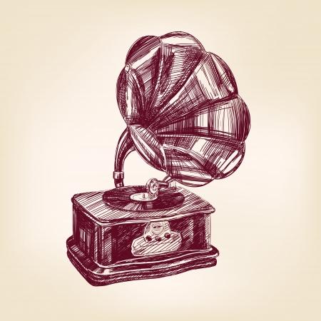gramophone vintage illustration Stock Vector - 17231427