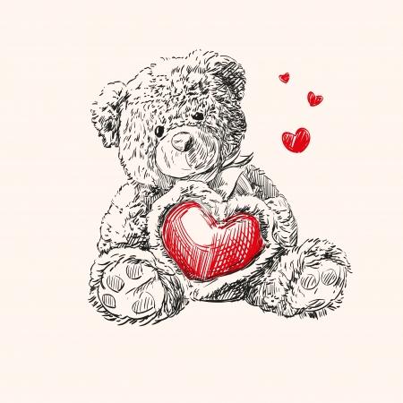 teddy bear love: teddy bear with  heart  Illustration