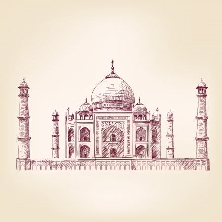 taj mahal: Taj Mahal, India, illustrazione,