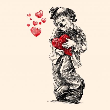 clown cirque: tirage au sort de la main de clown