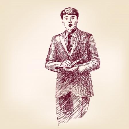 predicador: predicador con la biblia en mano ilustración vectorial