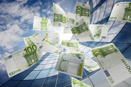 Flying euro  Stock Photo