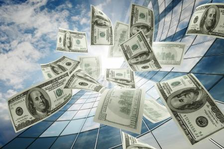 Flying dollars Stock Photo - 17550289