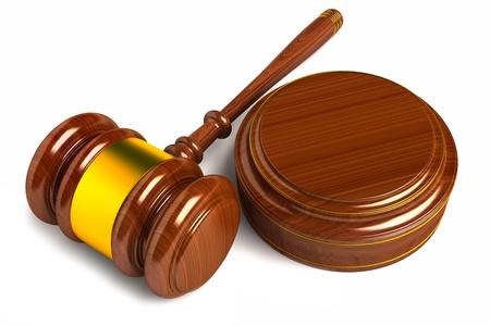 court proceedings: gavel isolated on white