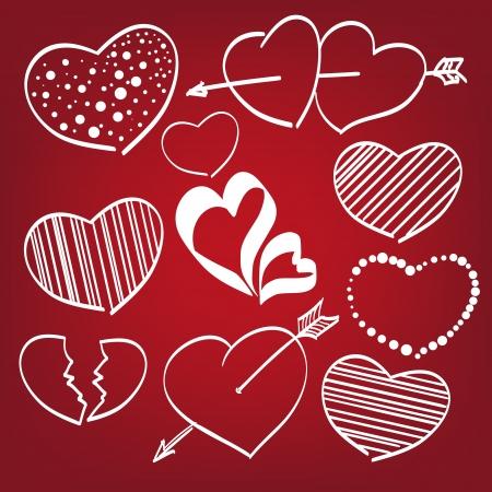 Doodle hearts set Stock Vector - 17550290