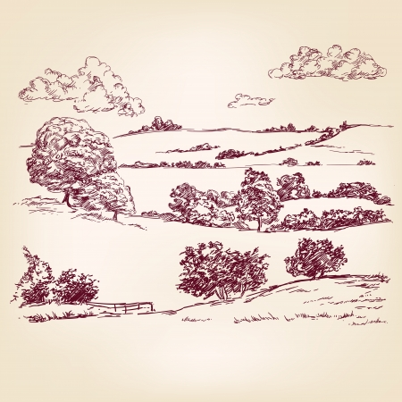 Landscape sketch drawing