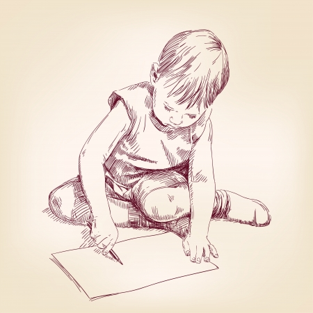 boy draws on the floor Illustration