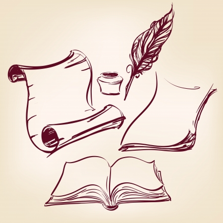 old blank scroll paper and feather pen Vector