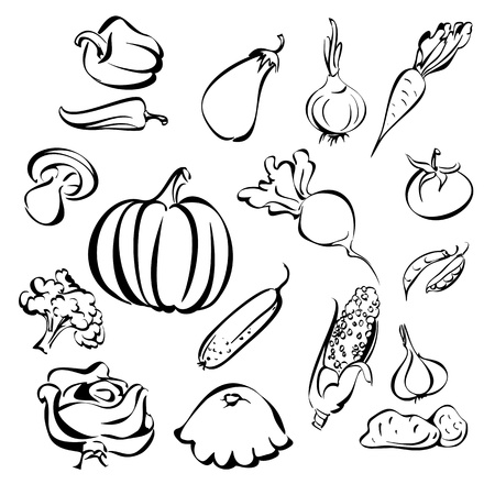 croquis légumes jeu d'icônes