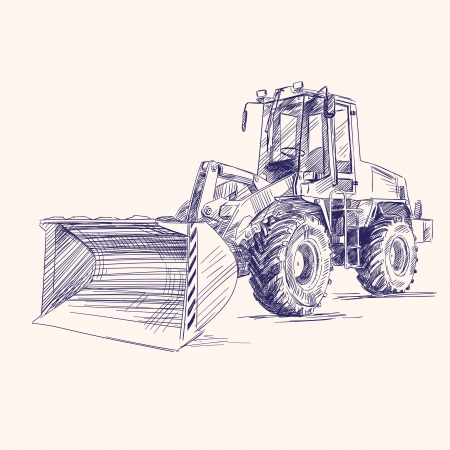 heavy duty: loader bulldozer excavator machine Illustration