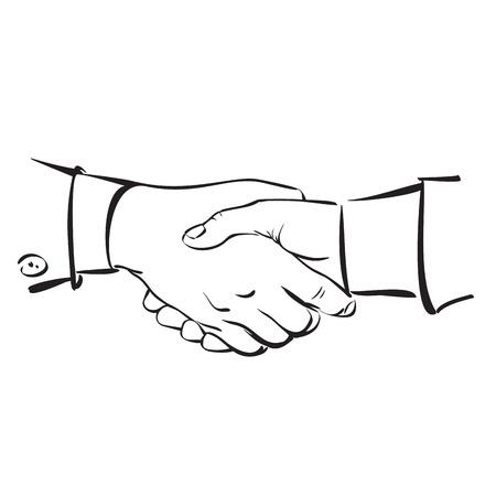 manos unidas: Apretón de manos croquis dibujado Vectores