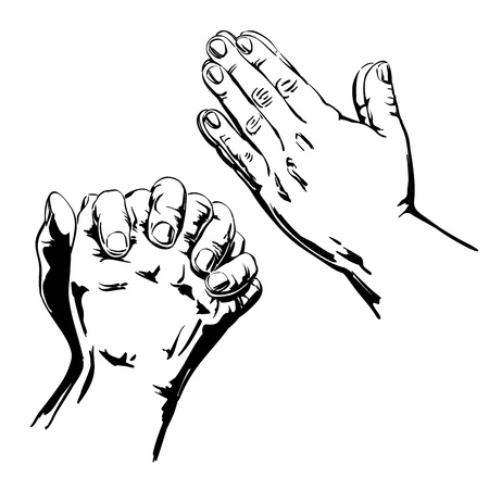 jesus prayer: Praying Hands Vectores