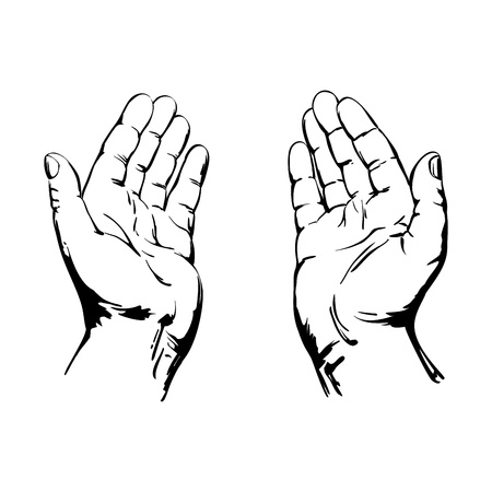 artistic jesus: Praying Hands Illustration