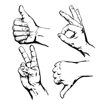 line up: Set of  Symbol Hands
