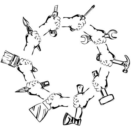 hand houden tool set vector