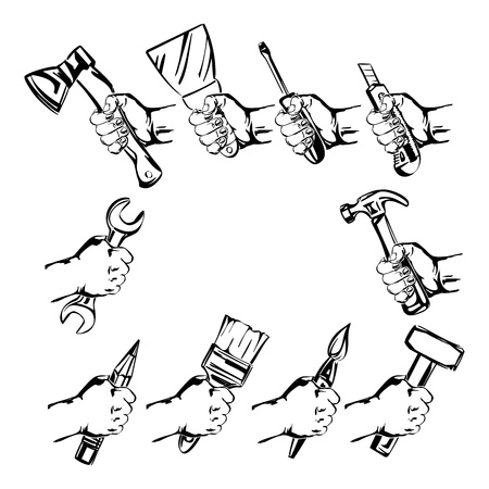hand holding tool  set vector Vector