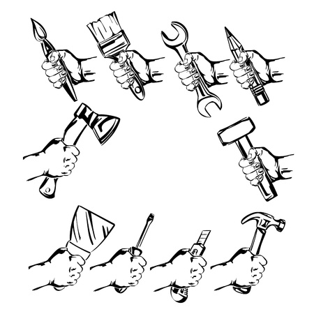 hand holding tool  set vector Stock Vector - 18244396