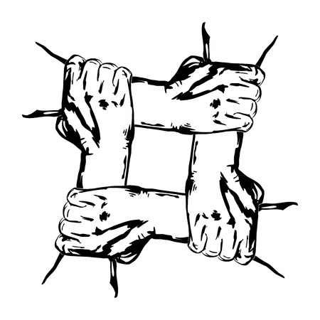 hand chain: hands holding each other in unity