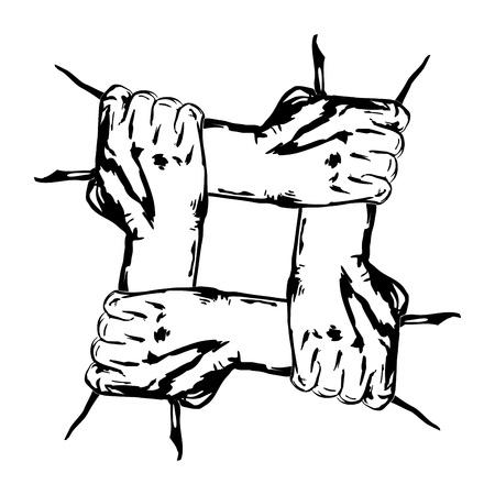 la union hace la fuerza: manos que sostienen entre sí en la unidad