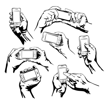 holding smart phone: Set Hands Holding the Smart Phone
