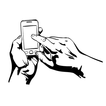 Hands Holding the Smart Phone  Stock Vector - 18707959