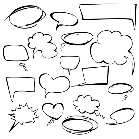 frames and bubbles collection hand drawn Vector