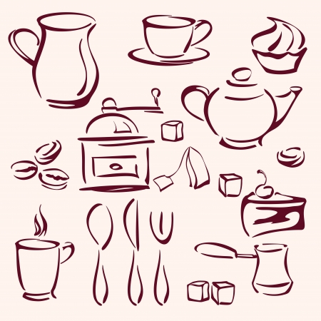 collection of tea coffee and cakes silhouettes  Vector