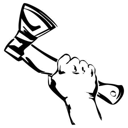 felling: hand holding axe