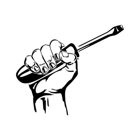 hand holding schroevendraaier illustratie