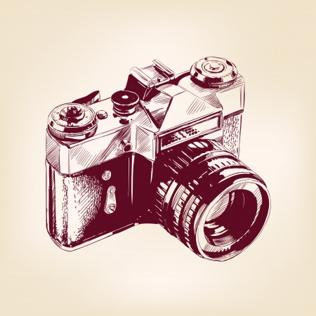 vintage camera: vintage old photo camera illustration Illustration