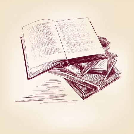 book mark: vintage old  books hand drawn