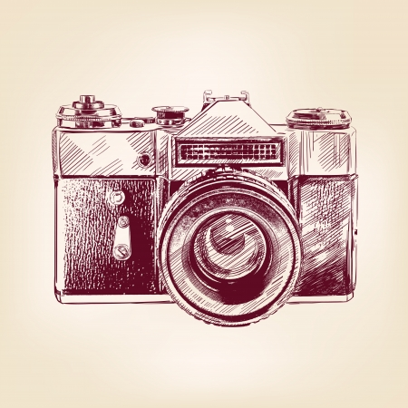 old pen: vintage old photo camera vector llustration