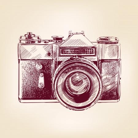photo camera: vintage vecchia foto fotocamera vettore llustration