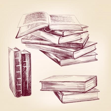 古い書籍のビンテージ手描き下ろしセット  イラスト・ベクター素材
