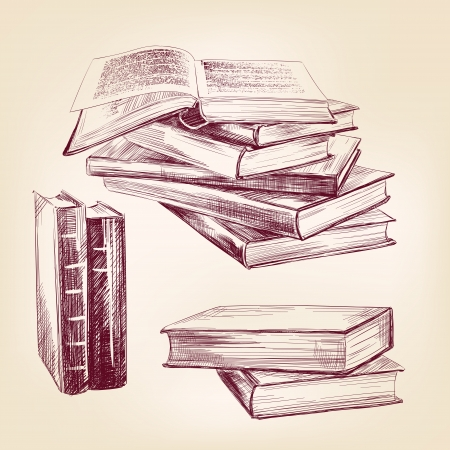 a literary sketch: vintage old  books hand drawn set Illustration