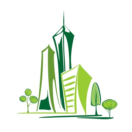 épület: Zöld város - környezetvédelem és ökológia Illusztráció