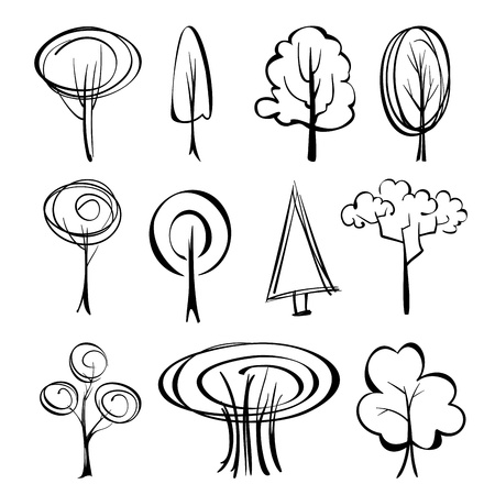 abstract trees  sketch set Vector