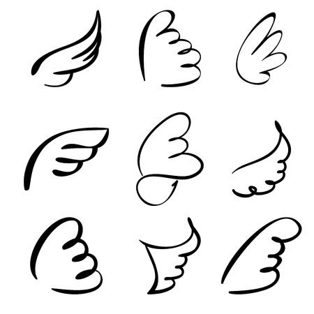 tatouage ange: Les ailes ensemble illustration