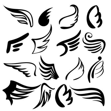 Vleugels set illustratie Stock Illustratie
