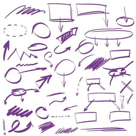 分離された多くの手描きの矢印のセット