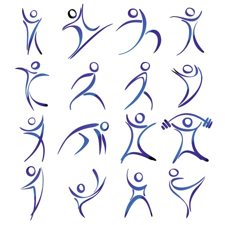woman jump: Abstract human figures in action icons collection illustration