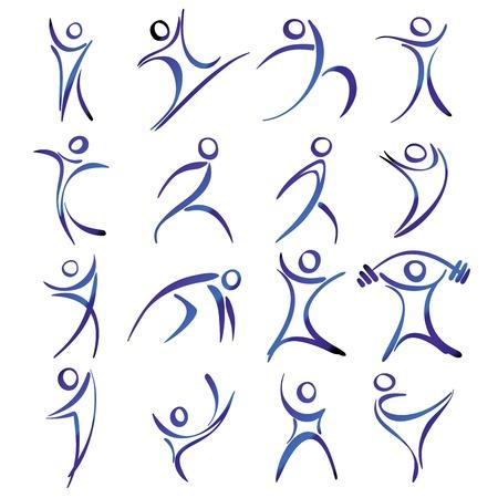 Resumen figuras humanas en acción iconos ilustración colección