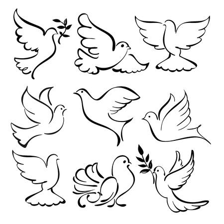 colomba della pace: colomba che vola schizzo collezione cartone animato Vettoriali
