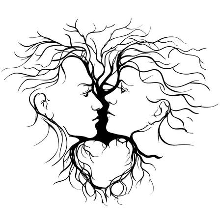 visage profil: Silhouette de couple qui s'embrasse fa�onn� par l'illustration d'arbre
