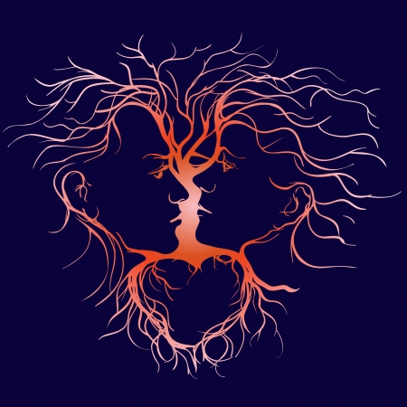 male face profile: Silhouette of kissing couple shaped by tree llustration Illustration