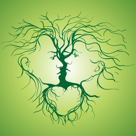 woman profile: Silhouette of kissing couple shaped by tree llustration Illustration