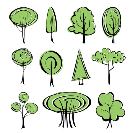 abstract trees sketch collection cartoon  illustration Stock Vector - 20753518