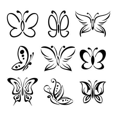 Set of butterfly silhouettes isolated on white background Vettoriali