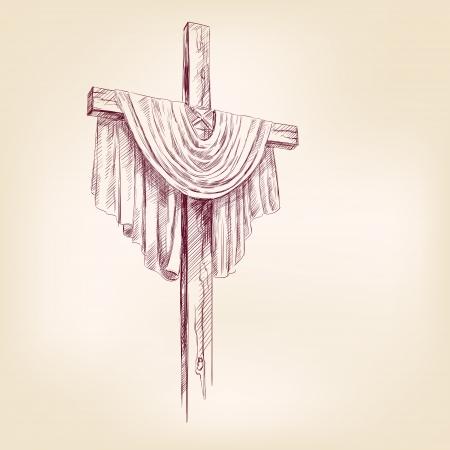 cruz de jesus: mano cruz de madera dibujo Ilustración realista
