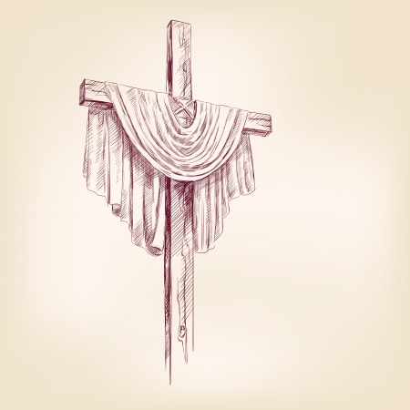 risen christ: wood cross hand drawn illustration realistic sketch